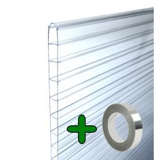 Doppelstegplatten Hohlkammerplatten Stegplatten Set (8 Stück 61x140 cm) Stärke 6mm + 1 Alu-Abdichtklebeband