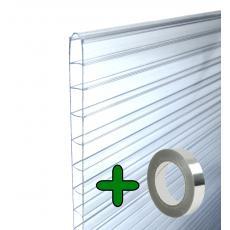 Doppelstegplatten Hohlkammerplatten Stegplatten Set (10 Stück 61x140 cm) Stärke 6mm + 1 Alu-Abdichtklebeband