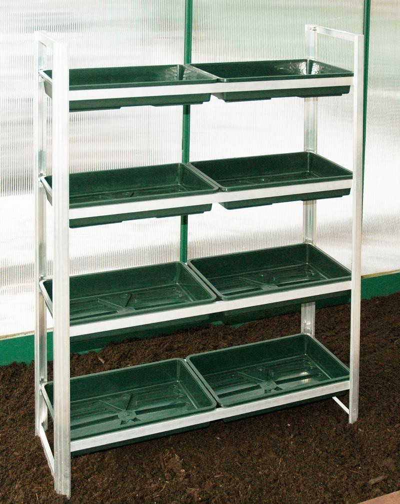 macgreen alu pflanzregal 8 saatschalen. Black Bedroom Furniture Sets. Home Design Ideas